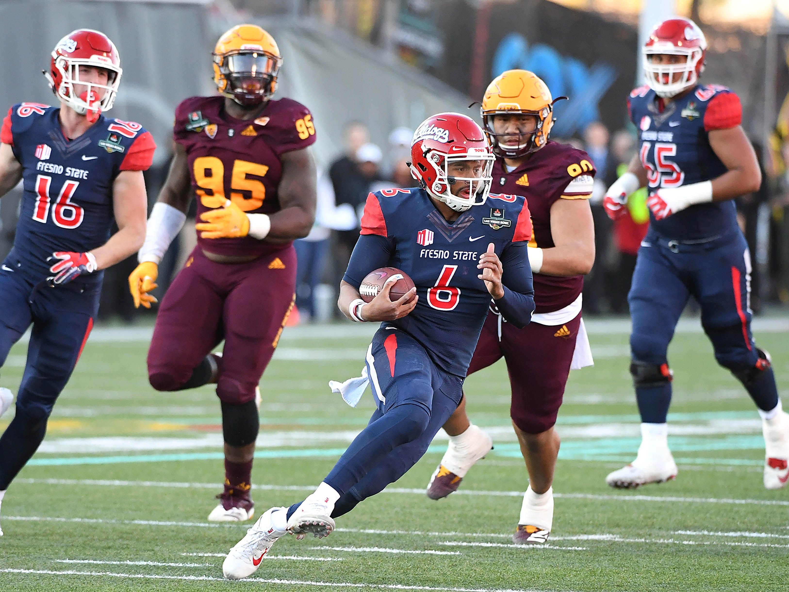 Dec 15, 2018; Las Vegas, NV, United States; Fresno State Bulldogs quarterback Marcus McMaryion (6) rushes during the second half against the Arizona State Sun Devils at Sam Boyd Stadium.