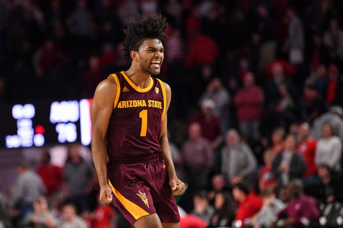 Dec 15, 2018; Athens, GA, USA; Arizona State Sun Devils guard Remy Martin (1) reacts after the Sun Devils defeated the Georgia Bulldogs  at Stegeman Coliseum.