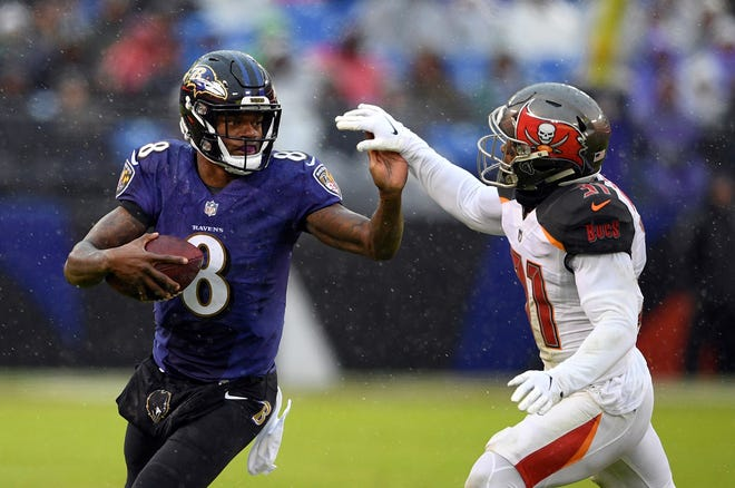 Baltimore Ravens quarterback Lamar Jackson says he wants to become the Tom Brady of Baltimore. AP FILE PHOTO