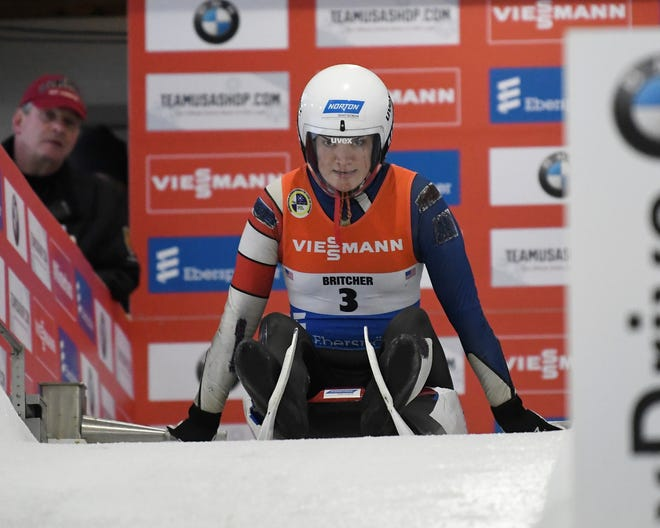 Glen Rock's Summer Britcher, is seen here taking a training run for the World Cup luge on Friday  in Lake Placid, New York. Britcher finished second in the World Cup women's sprint race on Sunday and fifth in women's singles competition. (AP Photo/Hans Pennink)