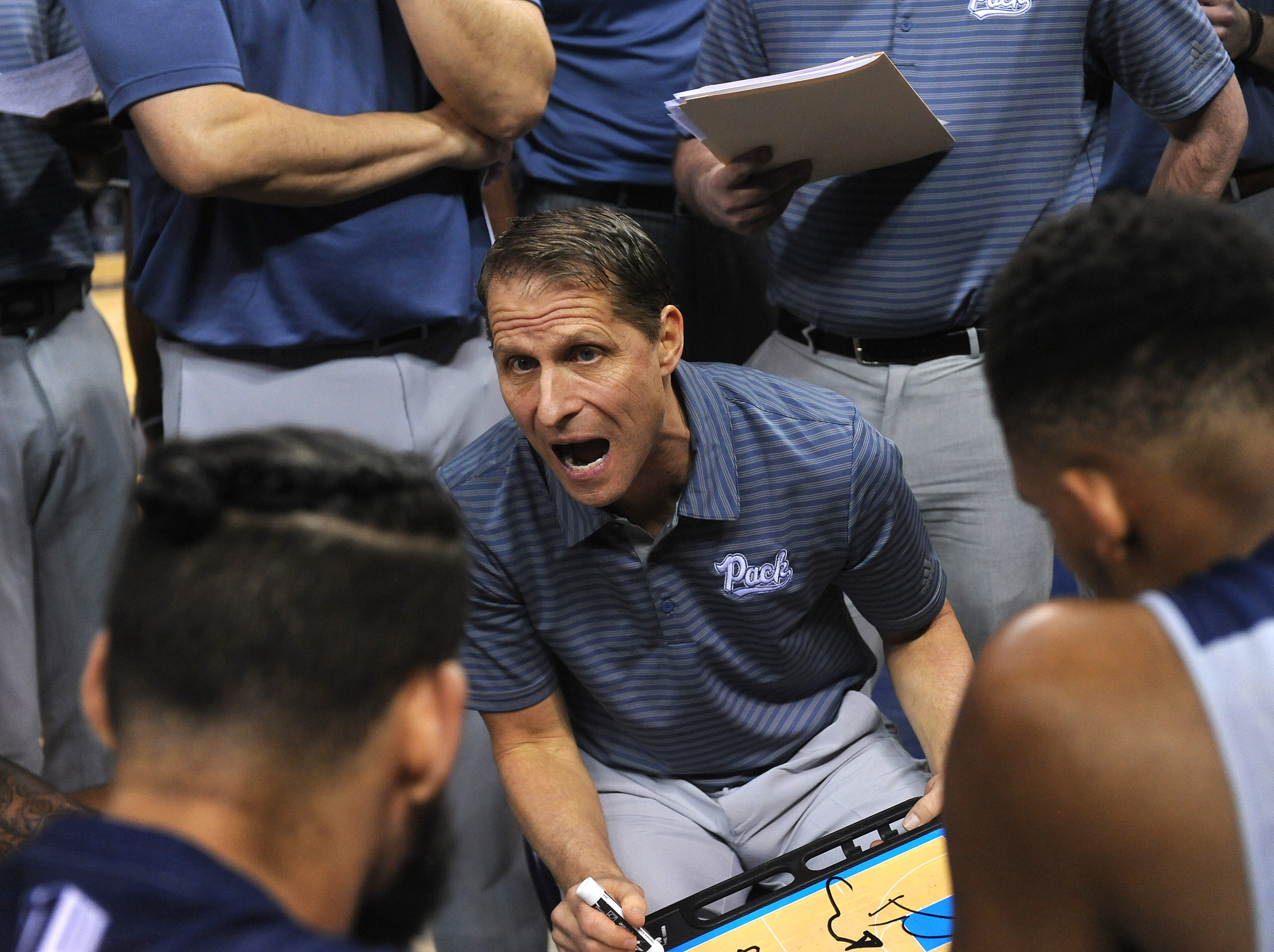 Nevada head coach Eric Musselman gives instruction during a time out while taking on South Dakota State during their basketball game at Lawlor Events Center in Reno on Dec. 15, 2018.