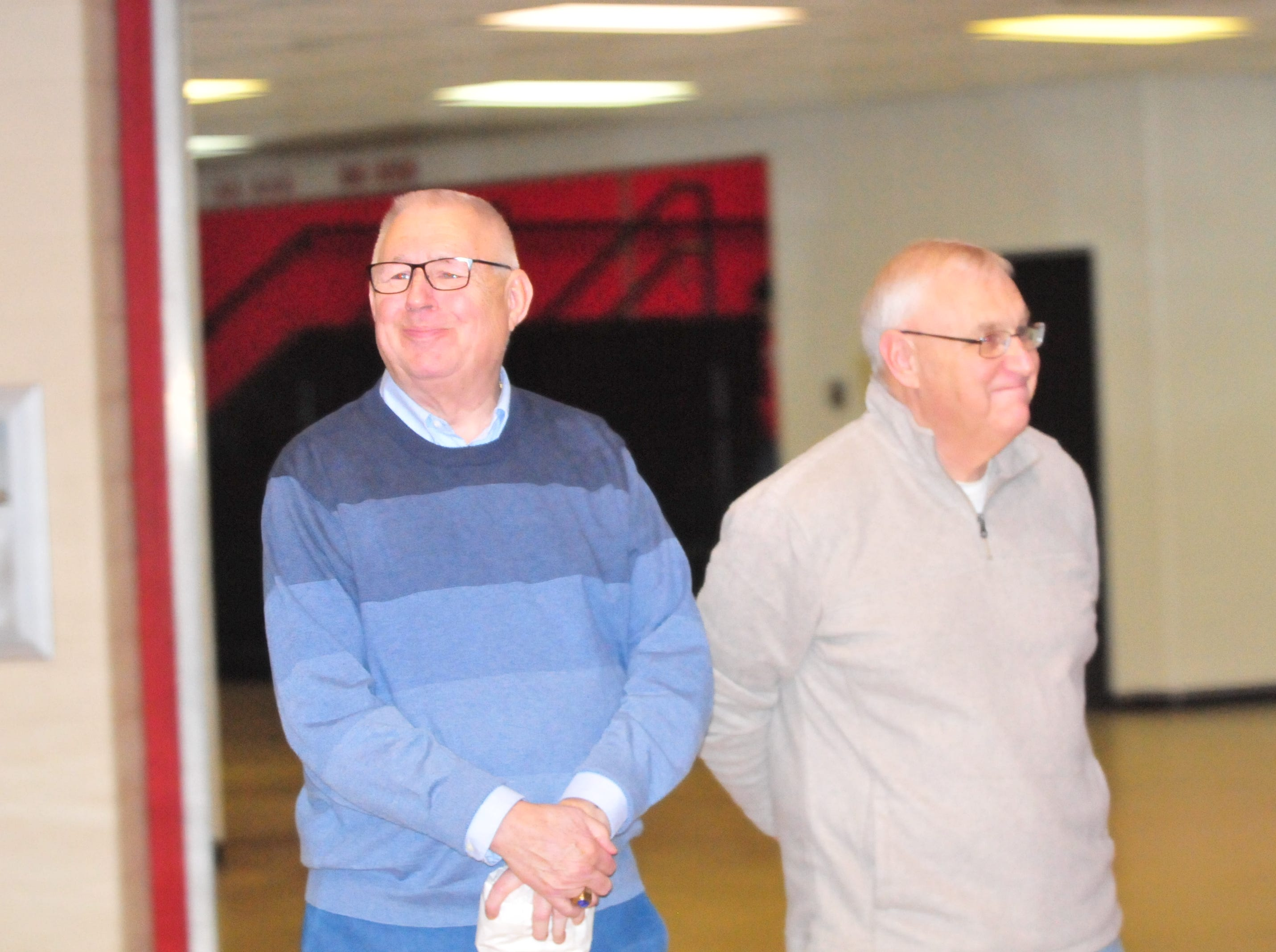 Former Palladium-Item sportswriters Jan Clark, left, and Mike Lopresti, were among the Richmond High School Coaches Hall of Fame selection committe.