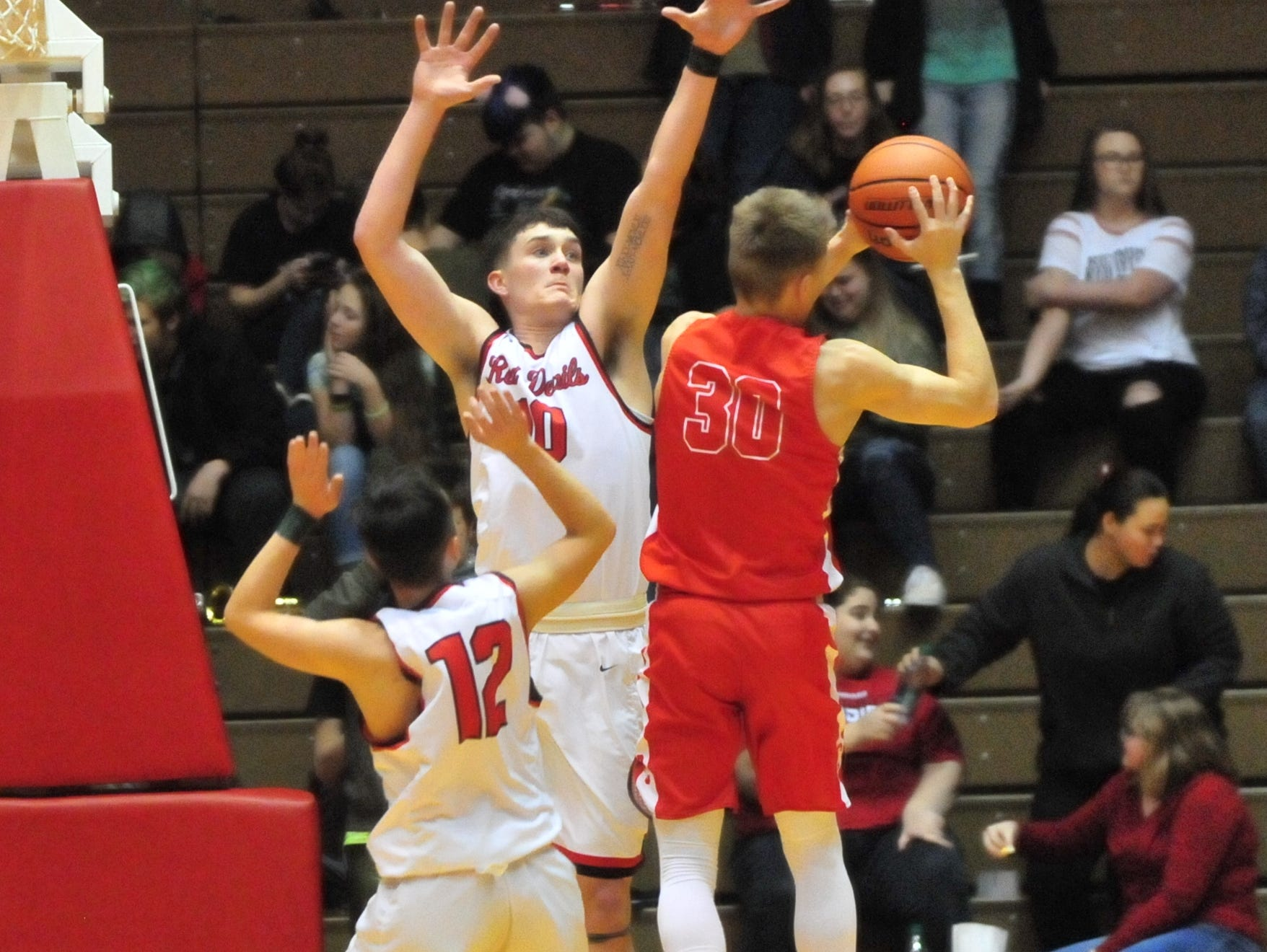 Richmond's Lucas Kroft (10) jumps during Saturday's 42-39 boys basketball loss to Connersville Dec. 15, 2018 at Tiernan Center. Stolle will be eligible to return on Wednesday.