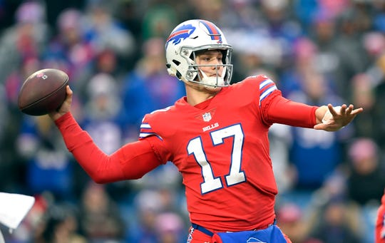 Buffalo Bills quarterback Josh Allen throws during the second half of an NFL football game against the Detroit Lions, Sunday, Dec. 16, 2018, in Orchard Park, N.Y.