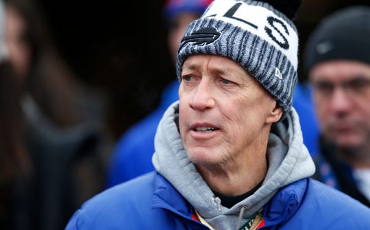 Buffalo Bills former quarterback Jim Kelly watches before an NFL football game against the Detroit Lions, Sunday, Dec. 16, 2018, in Orchard Park, N.Y. (AP Photo/Jeffrey T. Barnes)