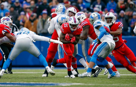 Buffalo Bills running back Keith Ford (35) rushes during the second half of an NFL football game against the Detroit Lions, Sunday, Dec. 16, 2018, in Orchard Park, N.Y.