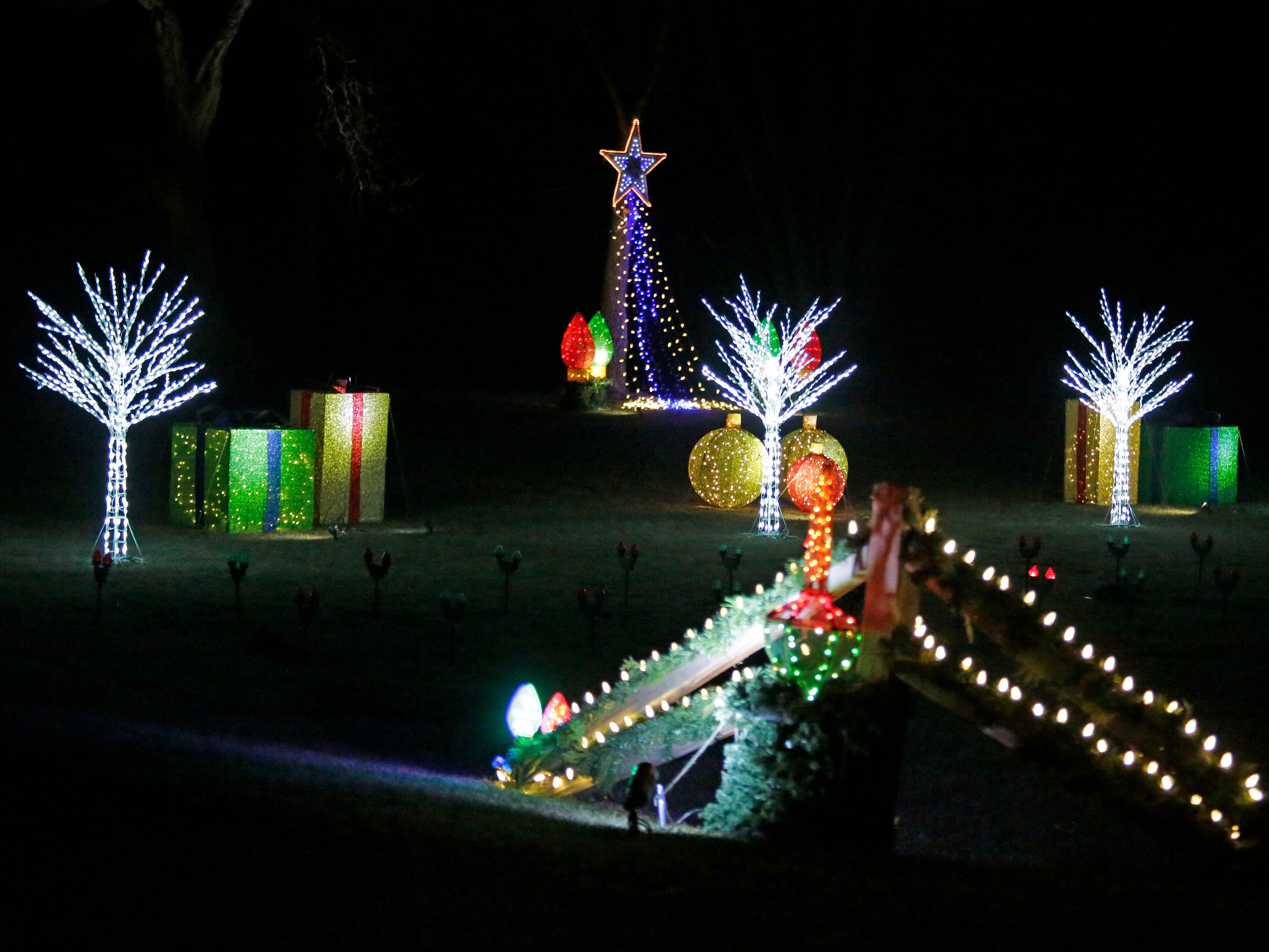 A colorful Christmas display along state Highway 57, Saturday, December 15, 2108, in Waldo, Wis.