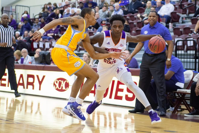 Northwestern State's Vonte Ott drives to the basket against Southern Saturday  in the SBSC's Holiday Classic at the Centenary Gold Dome