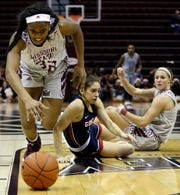 The MSU Lady Bears's Jasmine Franklin goes after a loose ball against Gonzaga at JQH Arena in Springfield on December 16, 2018.