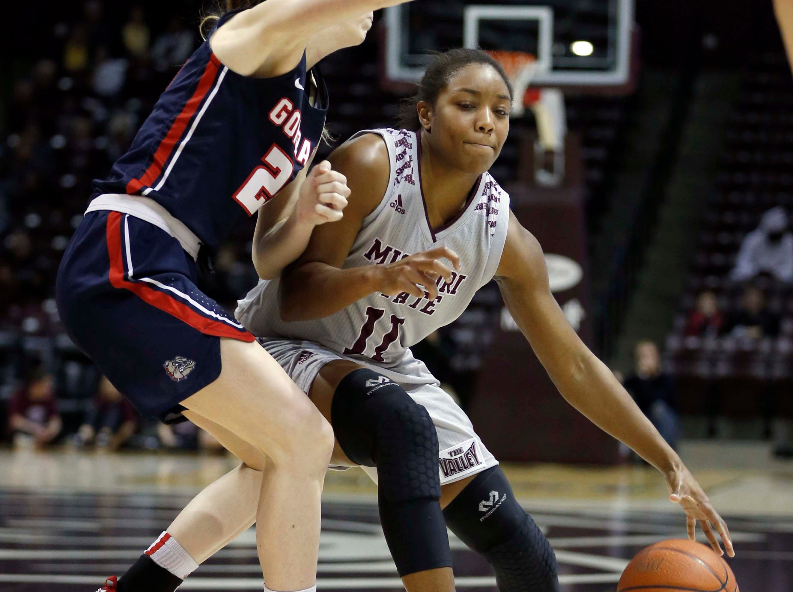 The MSU Lady Bears' Brice Calip seen here against Gonzaga at JQH Arena in Springfield on December 16, 2018.