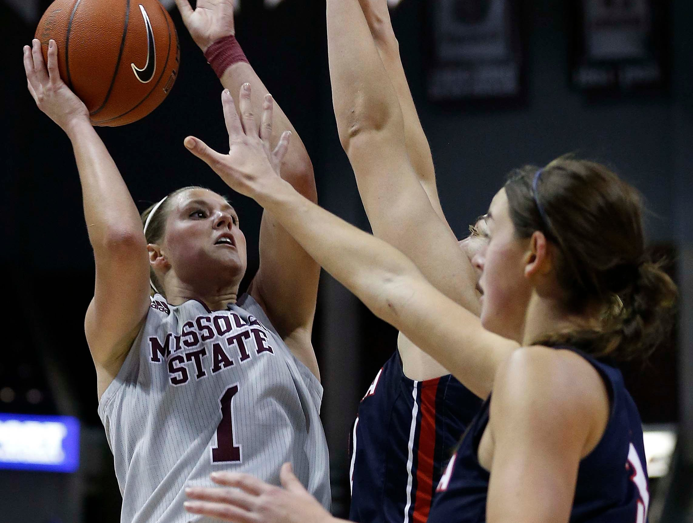 The MSU Lady Bears' Danielle Gitzen shoots against Gonzaga at JQH Arena in Springfield on December 16, 2018.