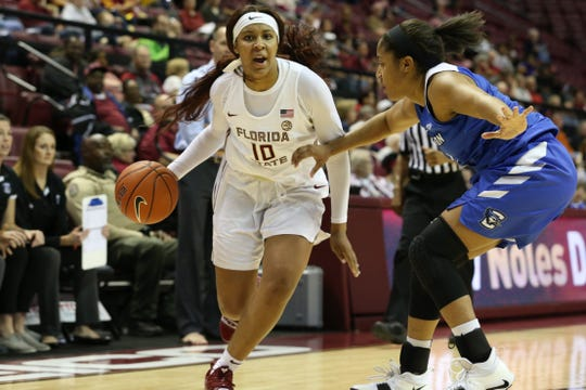 Florida State Seminoles guard Kourtney Weber (10) drives the ball to the hoop as the Florida State Seminoles host the Creighton Bluejays for women's basketball at the Tucker Civic Center, Sunday, Dec. 16, 2018.