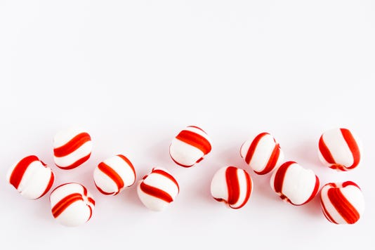 Peppermint Candies On White Background