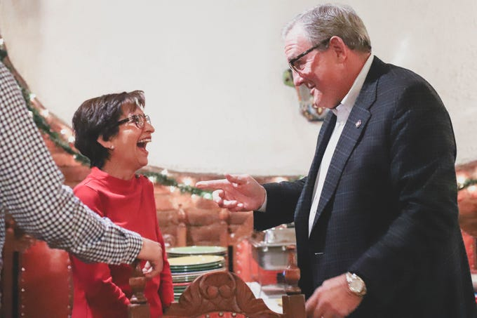 "District 8 city Rep. Cecilia ""Cissy"" Lizarraga celebrates her victory with Mayor Dee Margo on Saturday, Dec. 15, 2018, at G&R Restaurant."