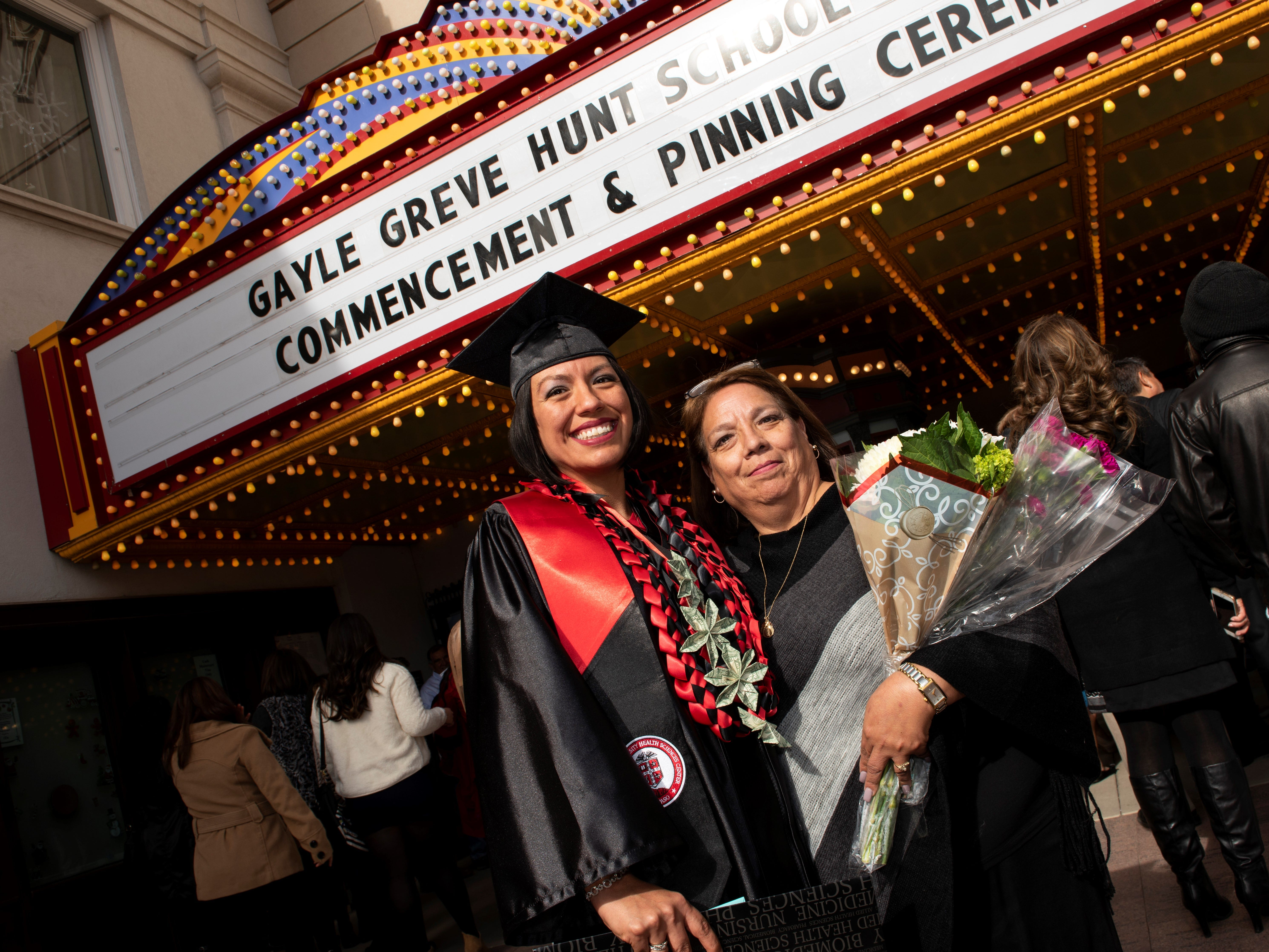The marquee at the Plaza Theatre made for a dramatic backdrop as the Texas Tech University Health Sciences Center El Paso Gayle Greve Hunt School of Nursing held its December 2018 Commencement and Pinning Ceremony on Saturday at the Plaza Theatre.