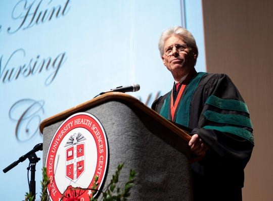 Rick Francis, Texas Tech University regent, celebrates the Gayle Greve Hunt School of Nursing's December 2018 Commencement and Pinning Ceremony on Saturday, Dec. 15, 2018, at the Plaza Theatre.