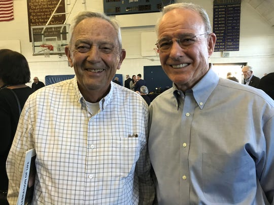 Legendary county coaches Mickey Perry, left, and Jerry White were on hand to celebrate the life of Lou Cvijanovich.