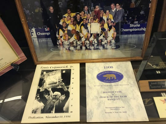 Mementos of Lou Cvijanovich's remarkable coaching career were on display during a celebration of his life Saturday at Santa Clara High.