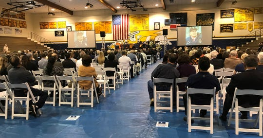 Family, friends, former players and coaches came to Santa Clara High on Saturday to honor the life of legendary coach Lou Cvijanovich, who died on Nov. 24 at 92 years old.