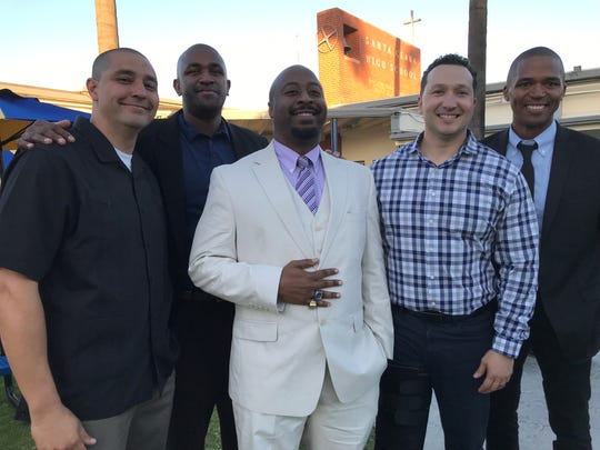 Members of the 1999 CIF state championship team, Eric Castaniero, Nick Jones, Anthony Camper, Jason Angel and B.J. Ward, returned to Santa Clara on Saturday to honor the life of Lou Cvijanovich.