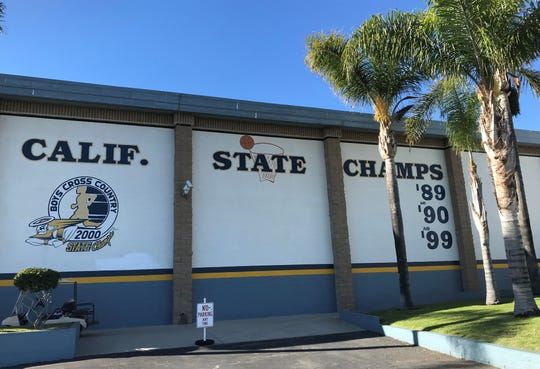 Santa Clara High has the outside of its gym painted with the remembrance of the state championships won by Lou Cvijanovich. The gym is named after Cvijanovich, who died at age 92 a few weeks ago.