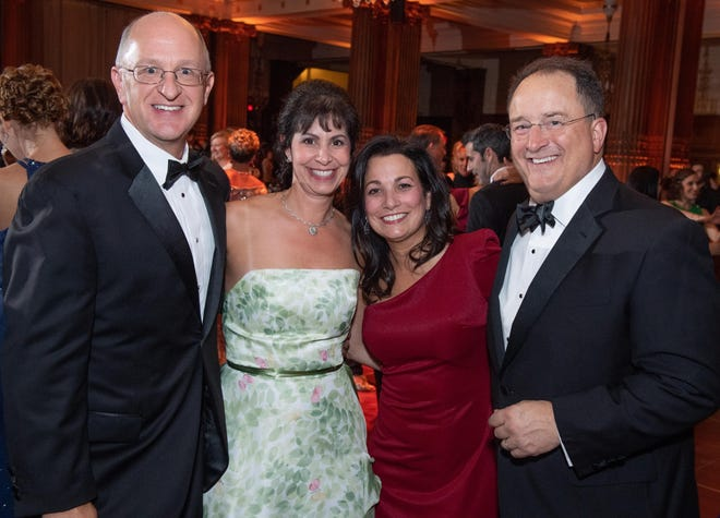Patrick Nolan, chief operating officer, Inspira Medical Center Woodbury, Bethanne Nolan, Maria Kaulback and Kurt Kaulback MD were co-chairs for The Ball at the Crystal Tea Room in Philadelphia, which supports Inspira Foundation Gloucester County.