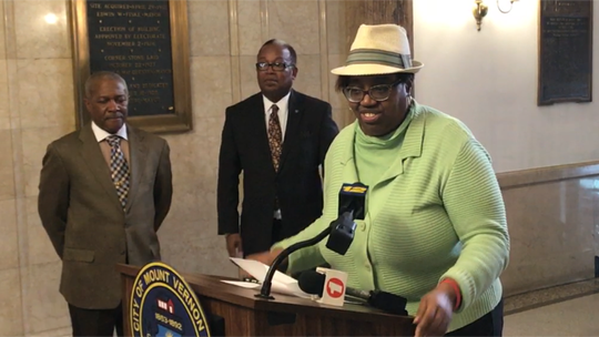 Mount Vernon Councilwoman Lisa Copeland speaks at a 2017 news conference.