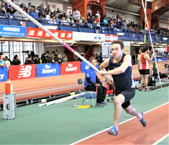 Byram Hills' Jonah Schwam heads down pole vault runway during 2018 Hall of Fame Coaches Invitational. He cleared 10-6.