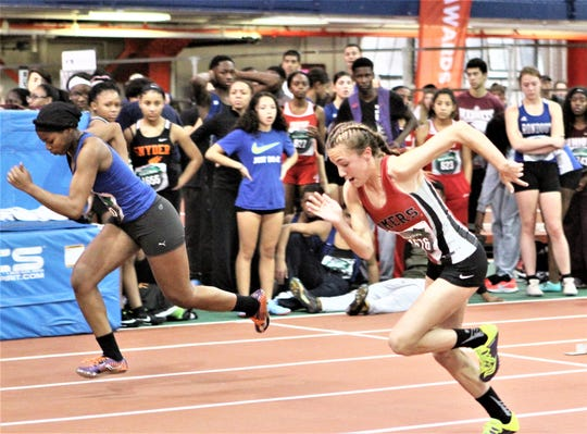Somers sophomore Ashley Moon (r) takes off en route to taking third at 55 meters in the girls small-school division during the 2018 Coaches Hall of Fame Invitational at The Armory.