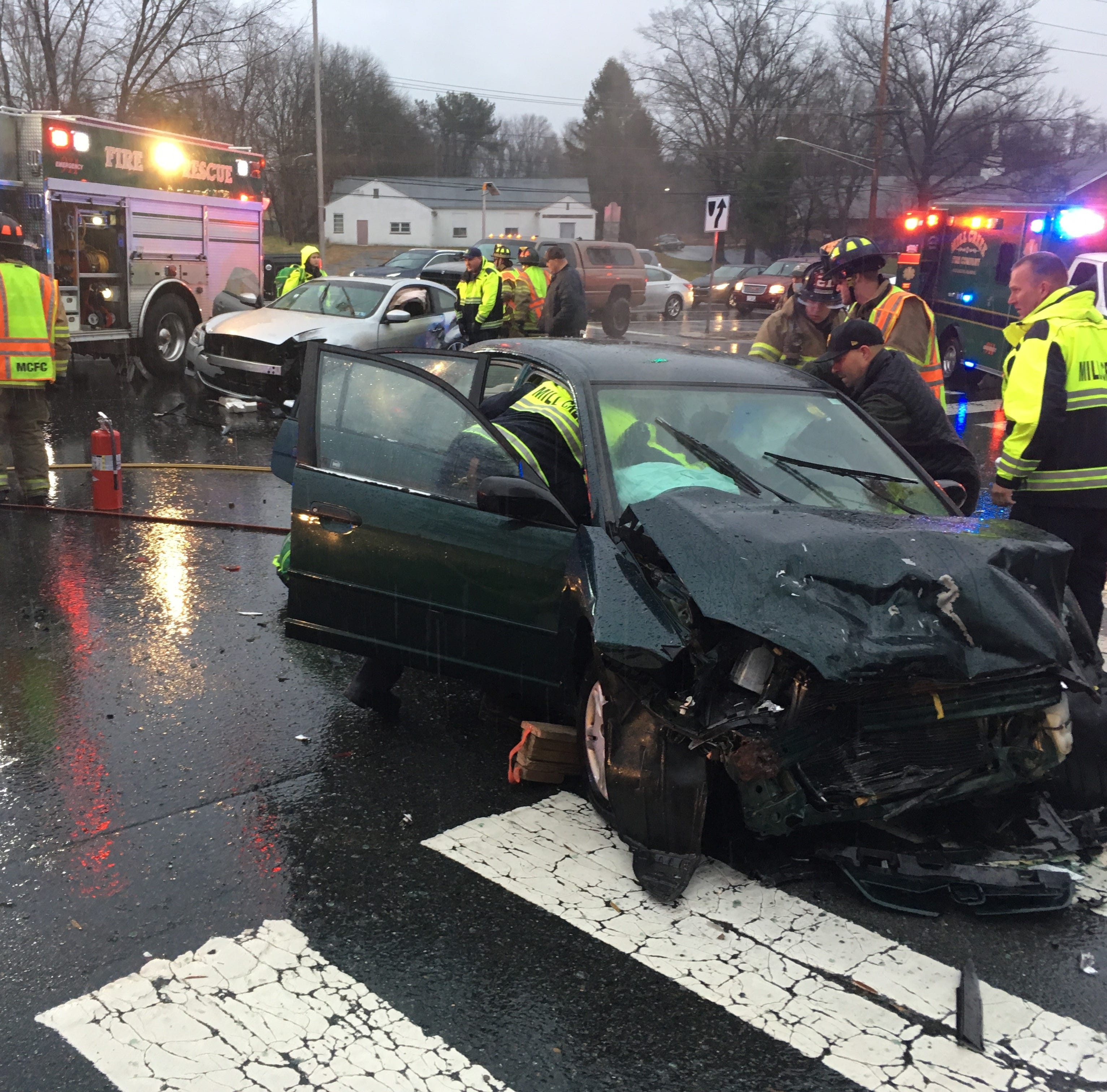 Two hospitalized after crash closes Limestone Road at Arundel Drive