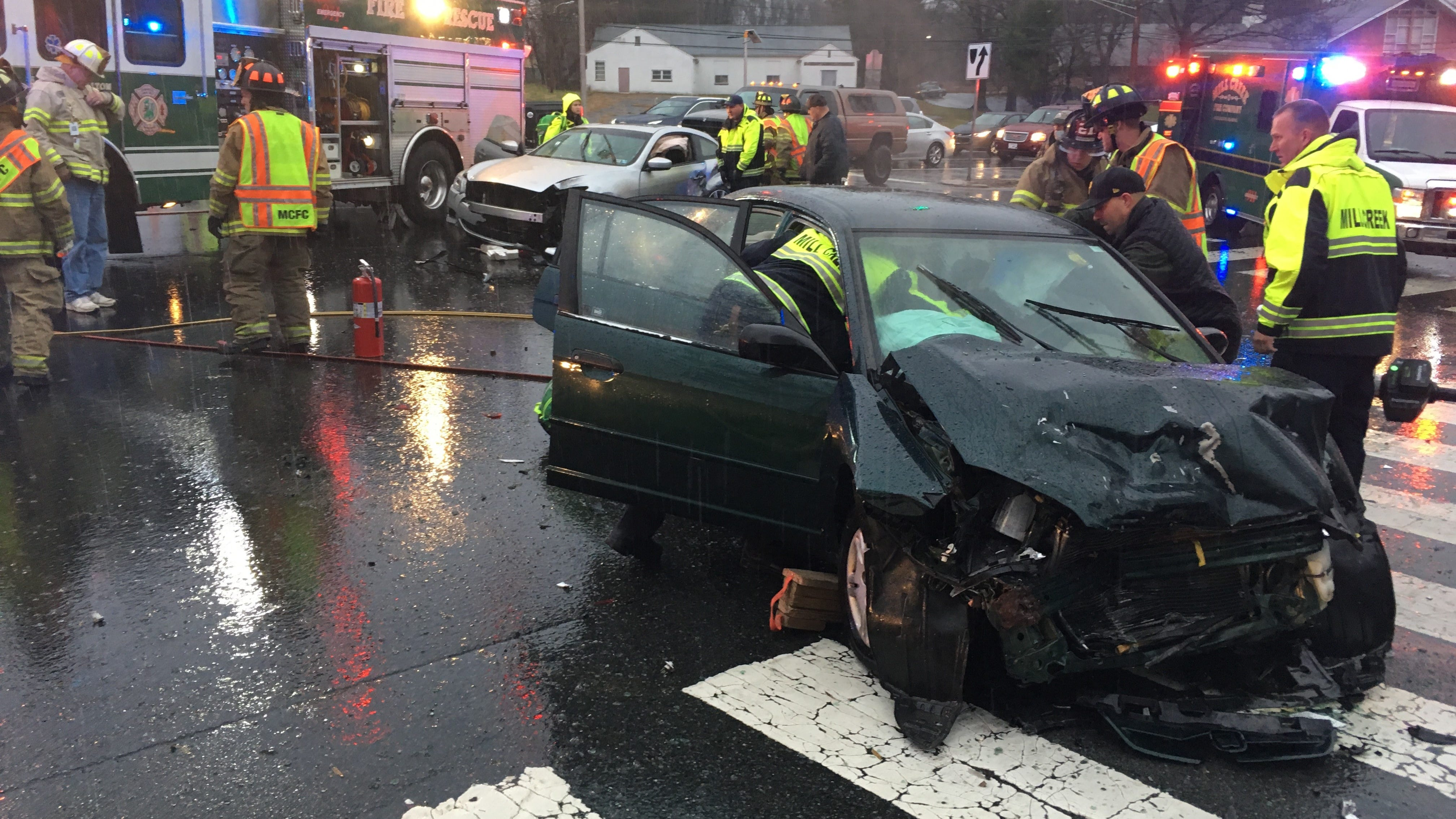A crash closed Limestone Road at Arundel Drive in Stanton shortly after 3 p.m. Sunday.