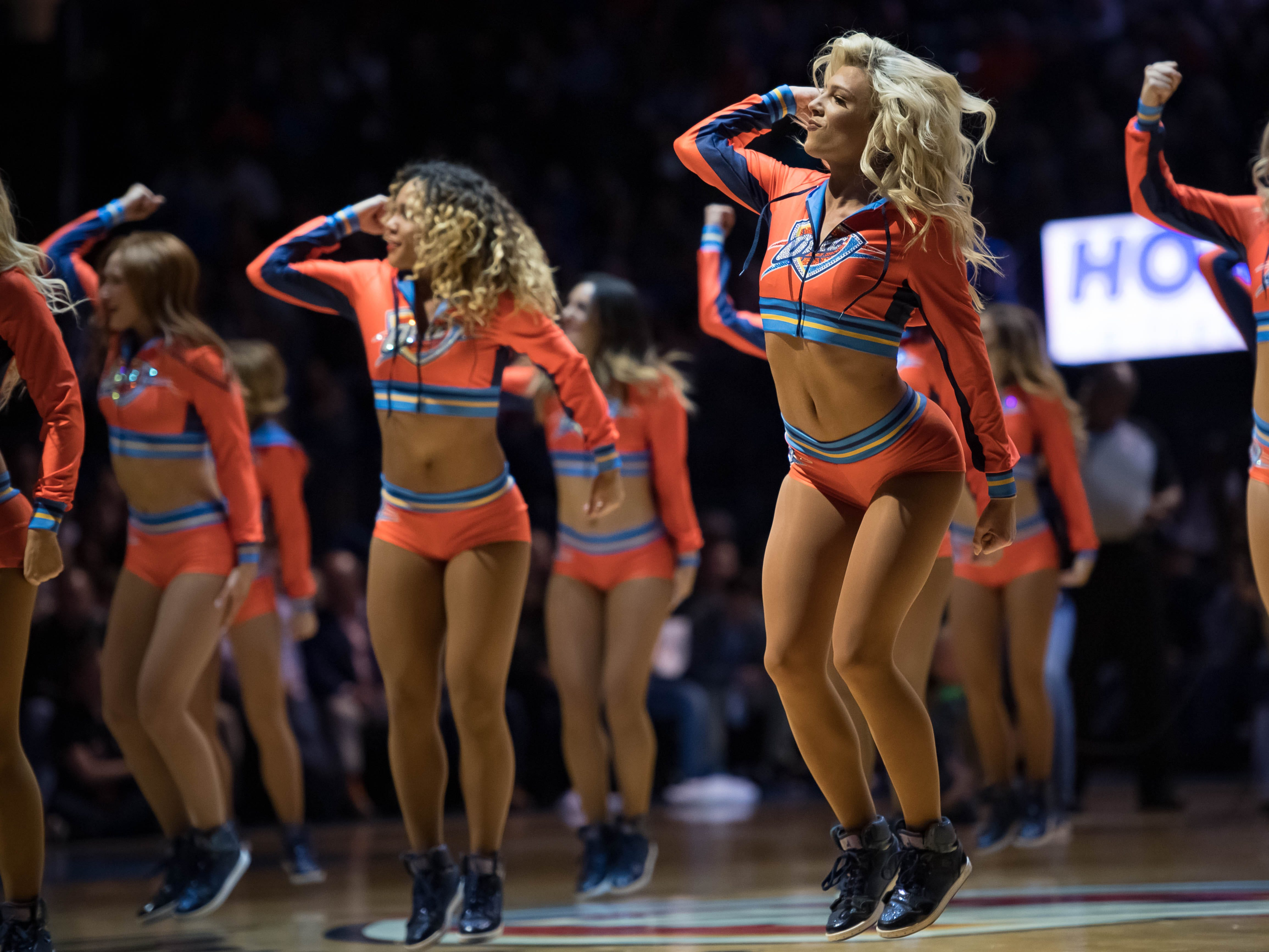 Dec. 15: Thunder perform during a first-half timeout against the Clippers at Chesapeake Energy Arena.
