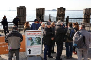 Tourists discover that the Statue of Liberty is closed Jan. 21, 2018, because of a federal government shutdown. The next day, New York state officials made money available to open the federal landmark.