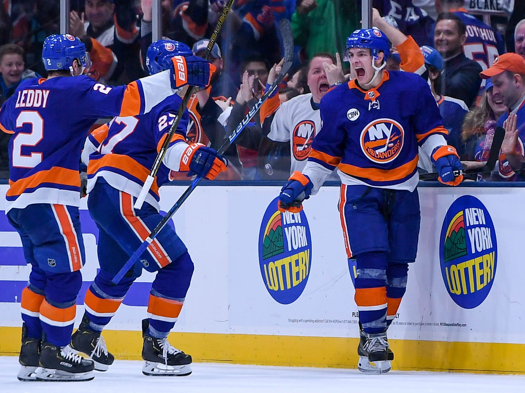 Dec. 15: New York Islanders center Mathew Barzal (13) celebrates after scoring a goal against the Detroit Red Wings during the third period at Nassau Veterans Memorial Coliseum.