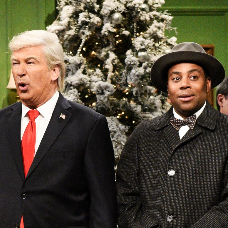 "SATURDAY NIGHT LIVE -- ""Matt Damon"" Episode 1755 -- Pictured: (l-r) Heidi Gardner as Hernia Trump, Cecily Strong as Melania Trump, Alec Baldwin as Donald Trump, and Kenan Thompson as Clarence the angel during the ?It?s a Wonderful Trump? Cold Open in Studio 8H on Saturday, December 15, 2018 -- (Photo by: Will Heath/NBC) ORG XMIT: Season:44 [Via MerlinFTP Drop]"
