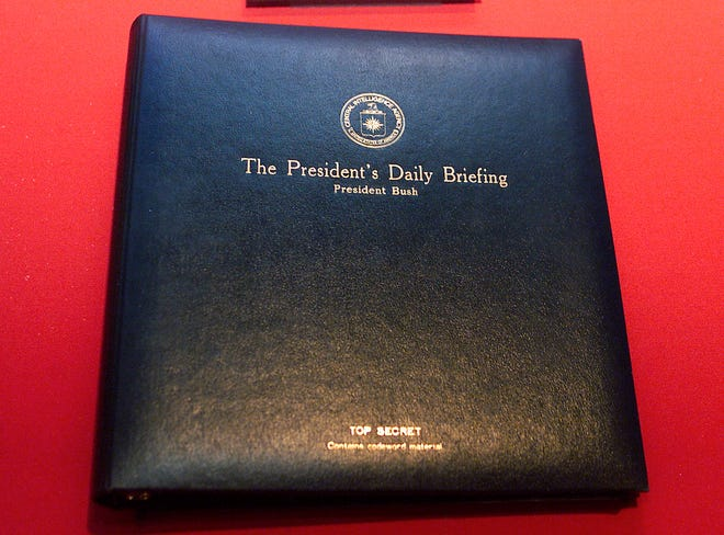 President George W. Bush's President's Daily Briefing binder