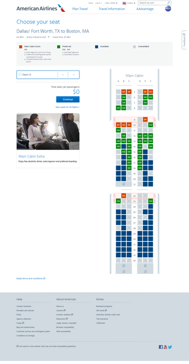 American Airlines' preferred seats