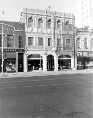 In this 1957 photo, Leath Furniture was at 103-105 E. College Ave. in downtown Appleton. On its left, Otto Jenss. To the right, Geo. Rau Jewelers was at the corner of Oneida Street.