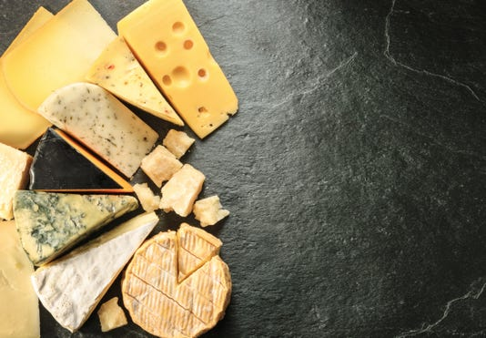 Various Types Of Cheese With Empty Space Background