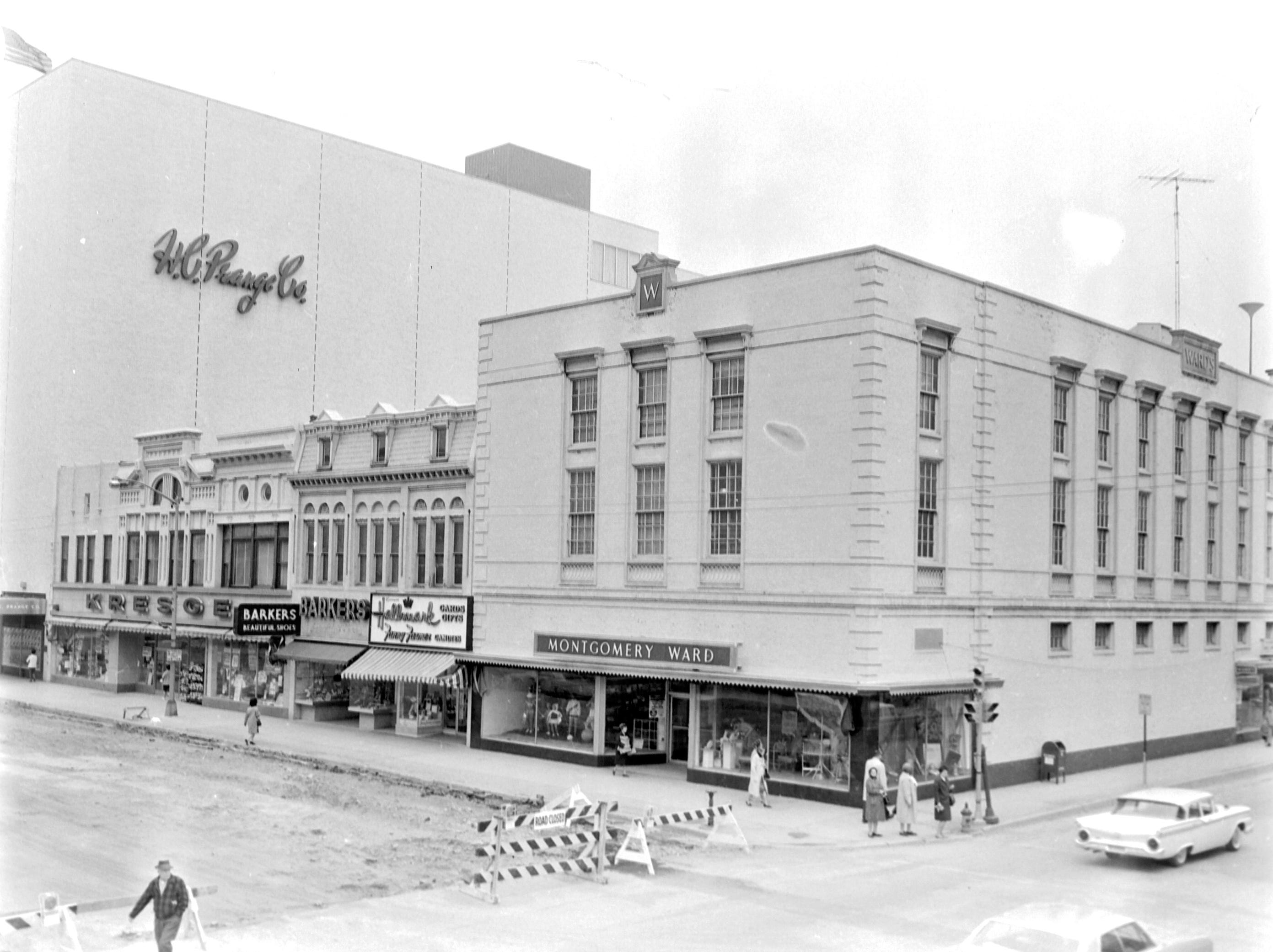 1957 Downtown Appleton. 100 West block on the north side of College Avenue:  H. C. Prange. Co. Kresge's. Barker's . Fanny Farmer. Mongomery Ward. Post-Crescent photo by staff.