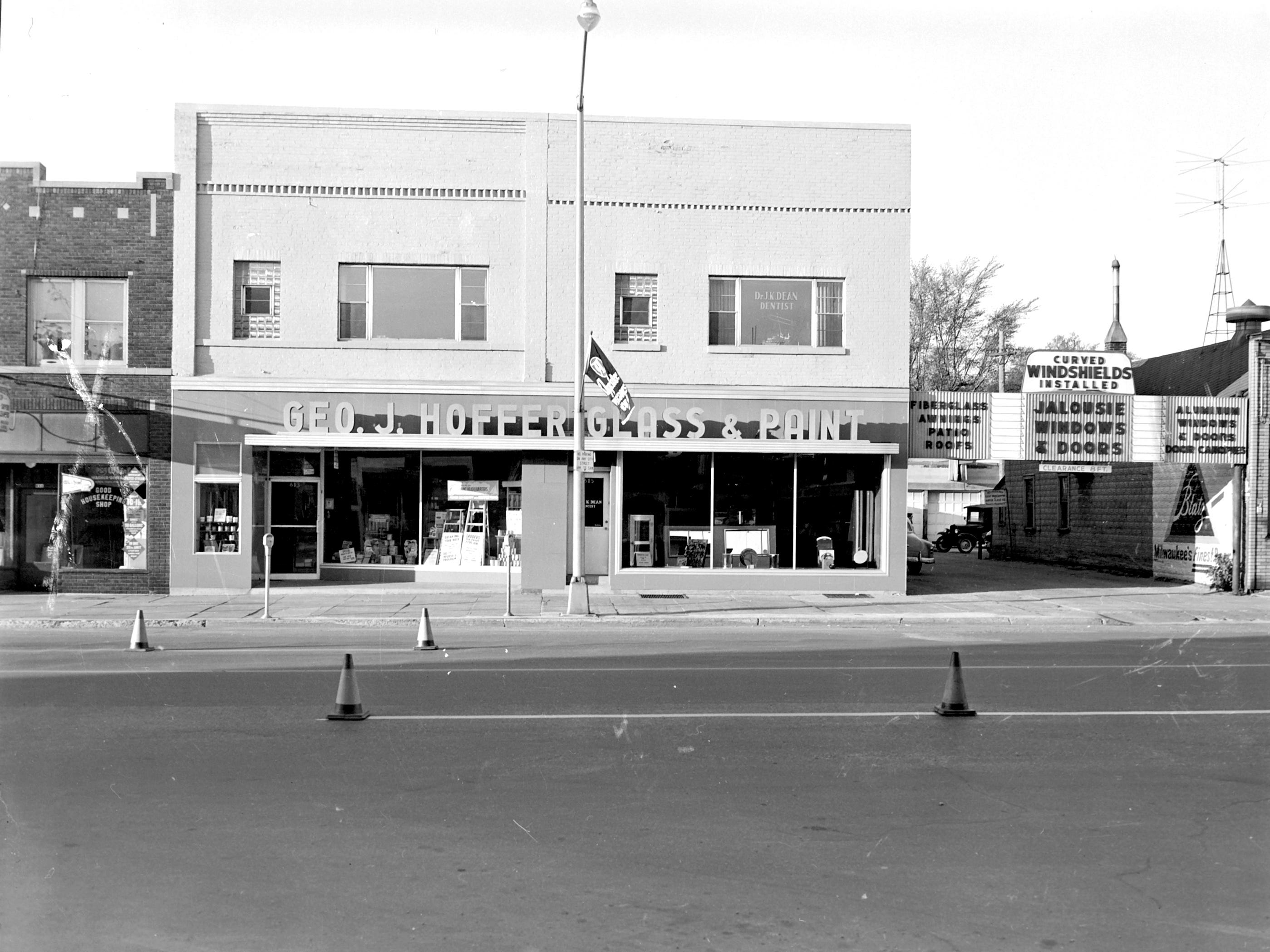 1957 Downtown Appleton. 600 West block on the south side of College Avenue: Good Housekeeping. Geo J. Hoffer Glass & Paint  Post-Crescent photo by staff.