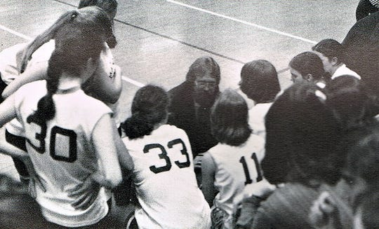 Kevin Attridge coaching Mater Dei's girls basketball team in an undated photo.