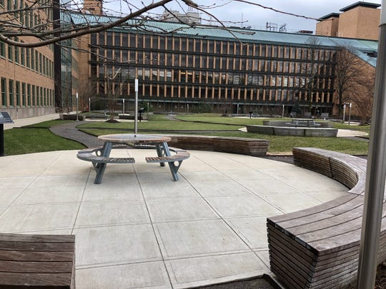 Nokia Bell Labs at Murray Hill features the Nobel Circle in its courtyard.
