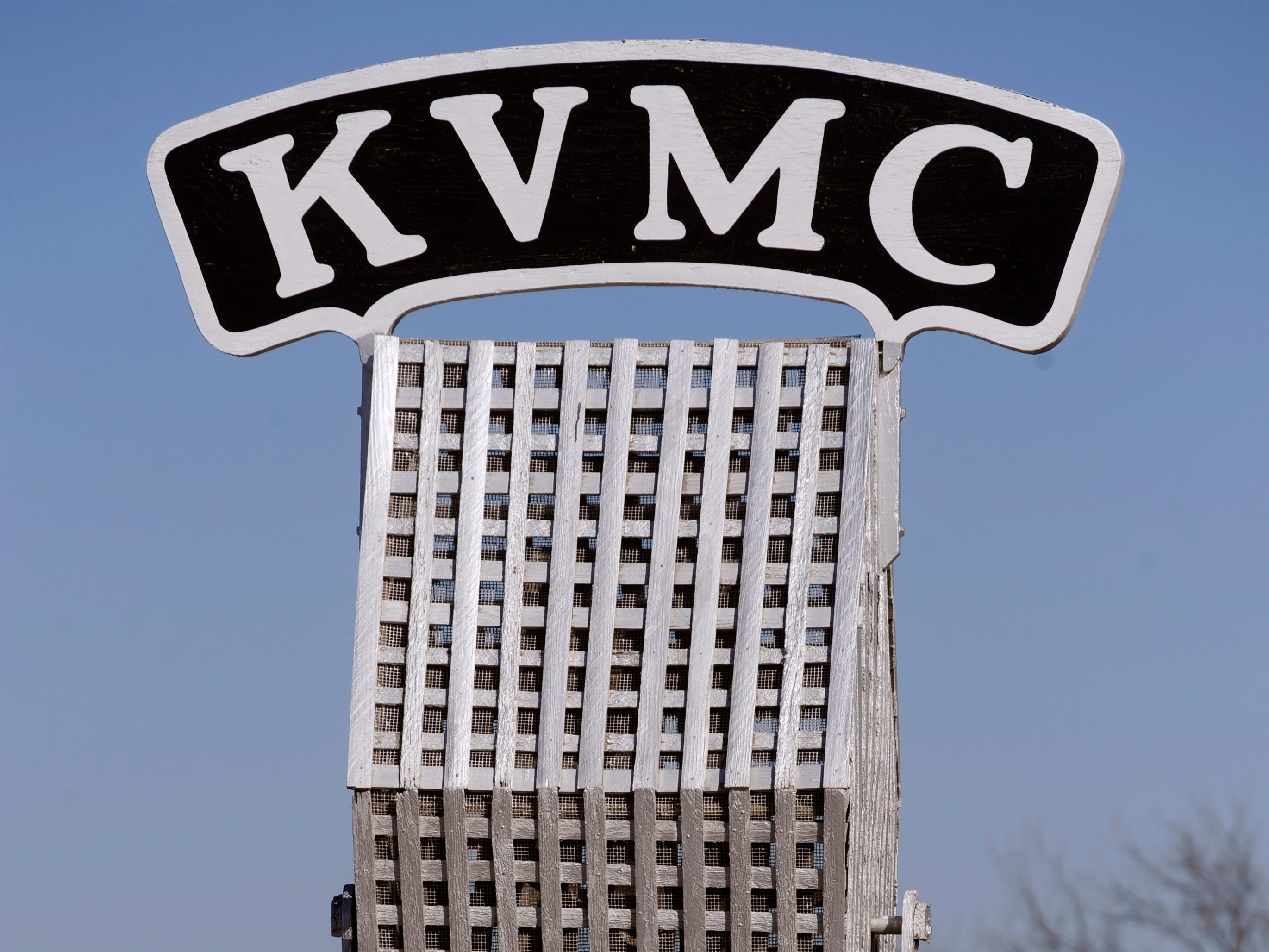 The oversized microphone outside of KVMC/KAUM in Colorado City Feb. 28, 2018. A Colorado City landmark, Jim Baum had owned the station since 1980. Baum died Dec. 16, 2018.