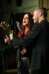 Sian Chandler and  Ray Hughes of The Black Feathers perform at 6 On The Square in Oxford in October.