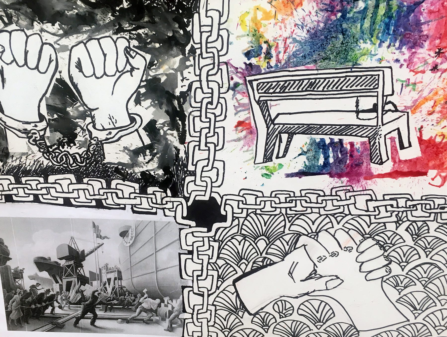 "Fairview Middle School students created artwork for a project in Amy White's U.S. History class, focused on the history of racial discrimination. Isabella Diaz's work showed a person sitting alone on a bench surrounded by ""the colors of hope."""