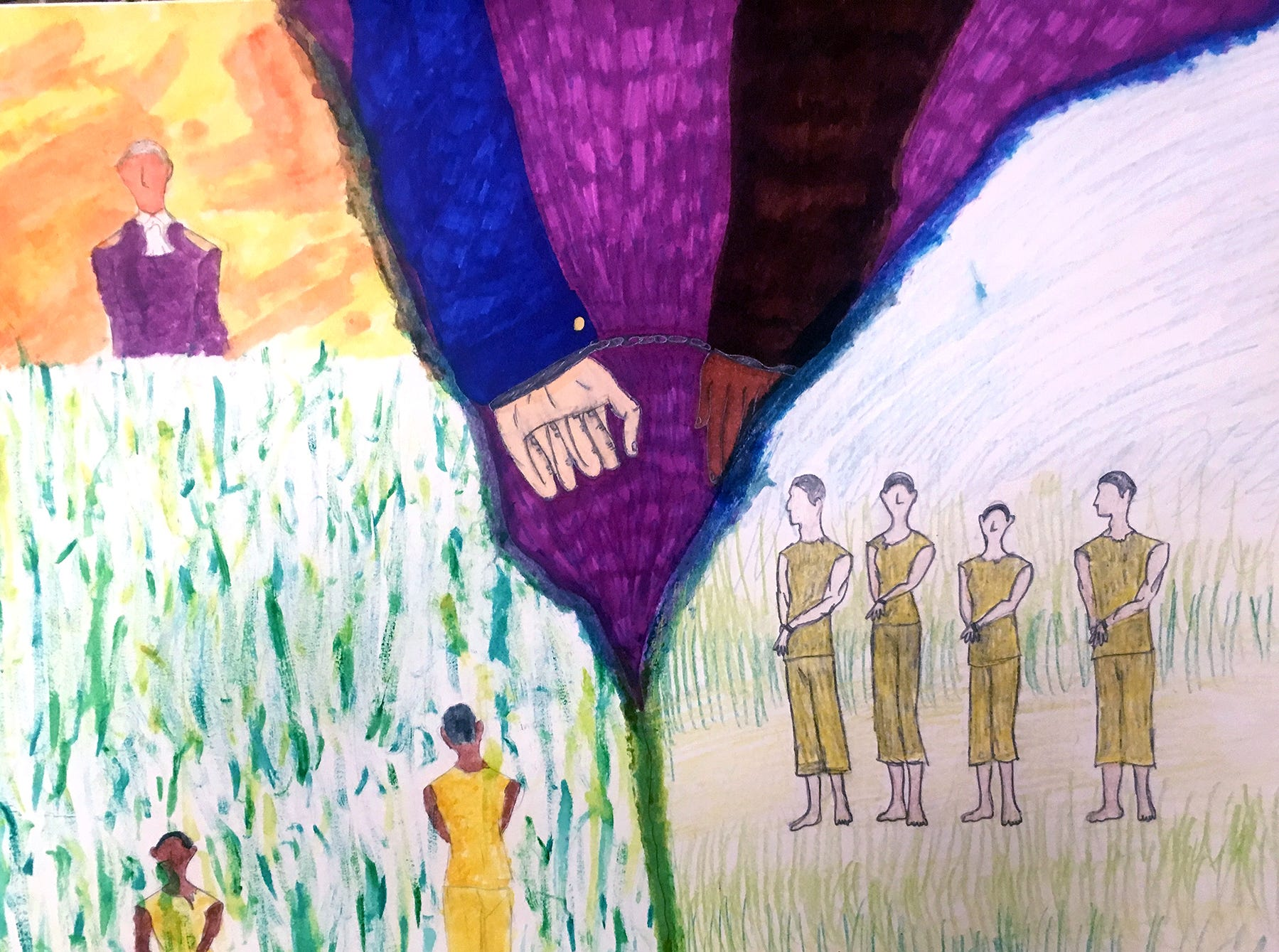 """Hayley Gerou's artwork """"Discrimination in America"""" was part of a class project in Amy White's U.S. History Class at Fairview Middle School in the fall of 2018."""