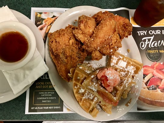 The fried chicken and waffle at Metro Diner in Suntree featured a half-chicken worth of meat fried to a golden crunch, one of the best versions of the classic in the area.
