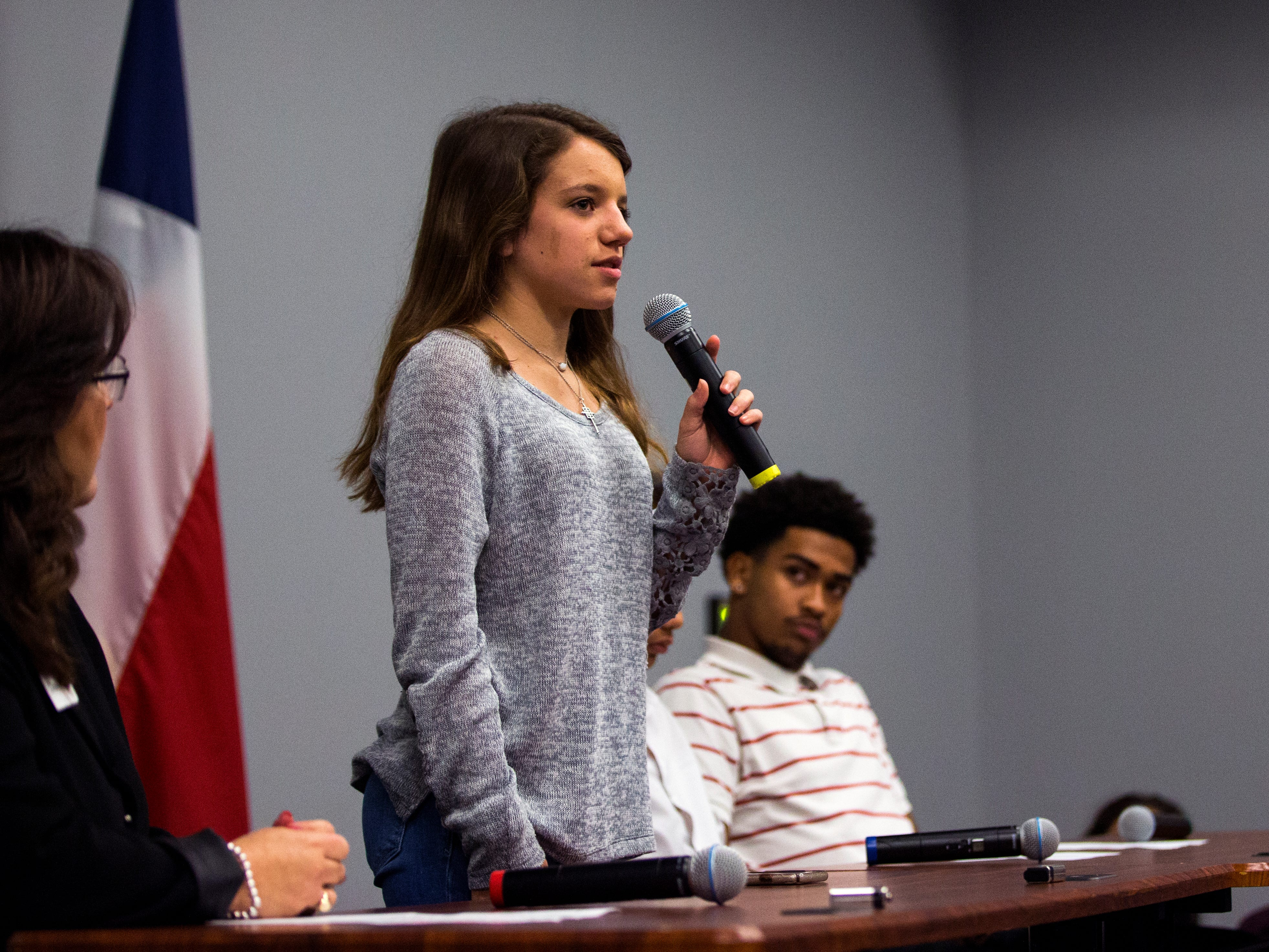 Cissy Reynolds-Perez (from left), assistant superintendent at West Oso Independent School District, Ashlyn Clark, a 9th grader at Veterans Memorial High School, and Malachi Florez a 9th grader at West Oso High School, participate in a panel on suicide prevention and schools at the Del Mar Center for Economic Development on Monday, December 17, 2018. It was part of a daylong seminar held by State Rep. Todd Hunter that covered the 86th legislative session and how human trafficking and suicide prevention will fit into the session.