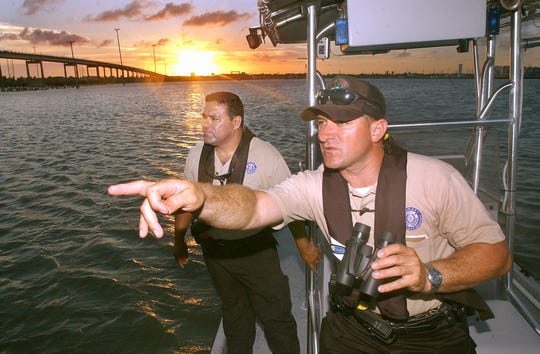 Texas Parks and Wildlife game wardens, Albert Flores, left;  and Martin Garcia,  patrol waters of the Coastal Bend looking for boating violations and conducting safety inspections of boats.